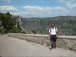 Thomas Locke on a medieval trail hike in the French Alps.